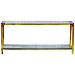 Mastercraft Brass and Glass Console Tablle