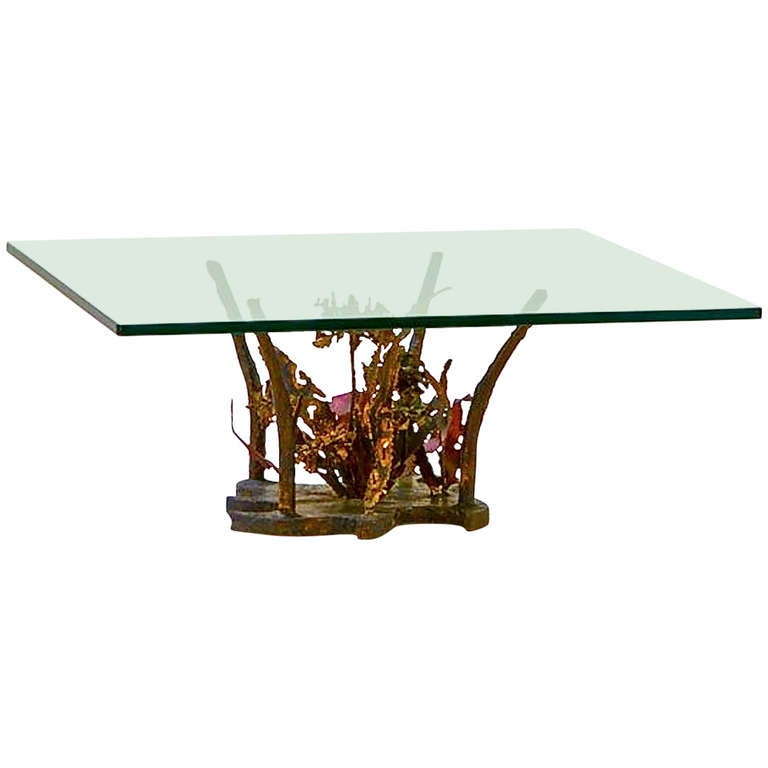 Silas Seandel sculptural bronze cocktail table, 1970s