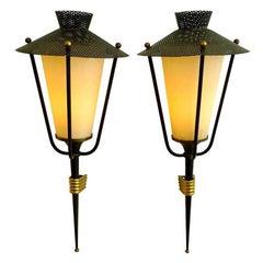 Pair of Maison Arus Lantern Sconces