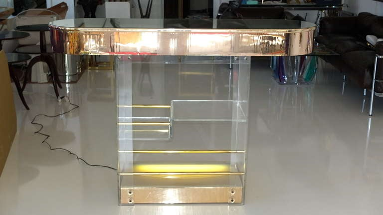 Goodfellas Lucite And Gold Mirror Illuminated Standing Bar