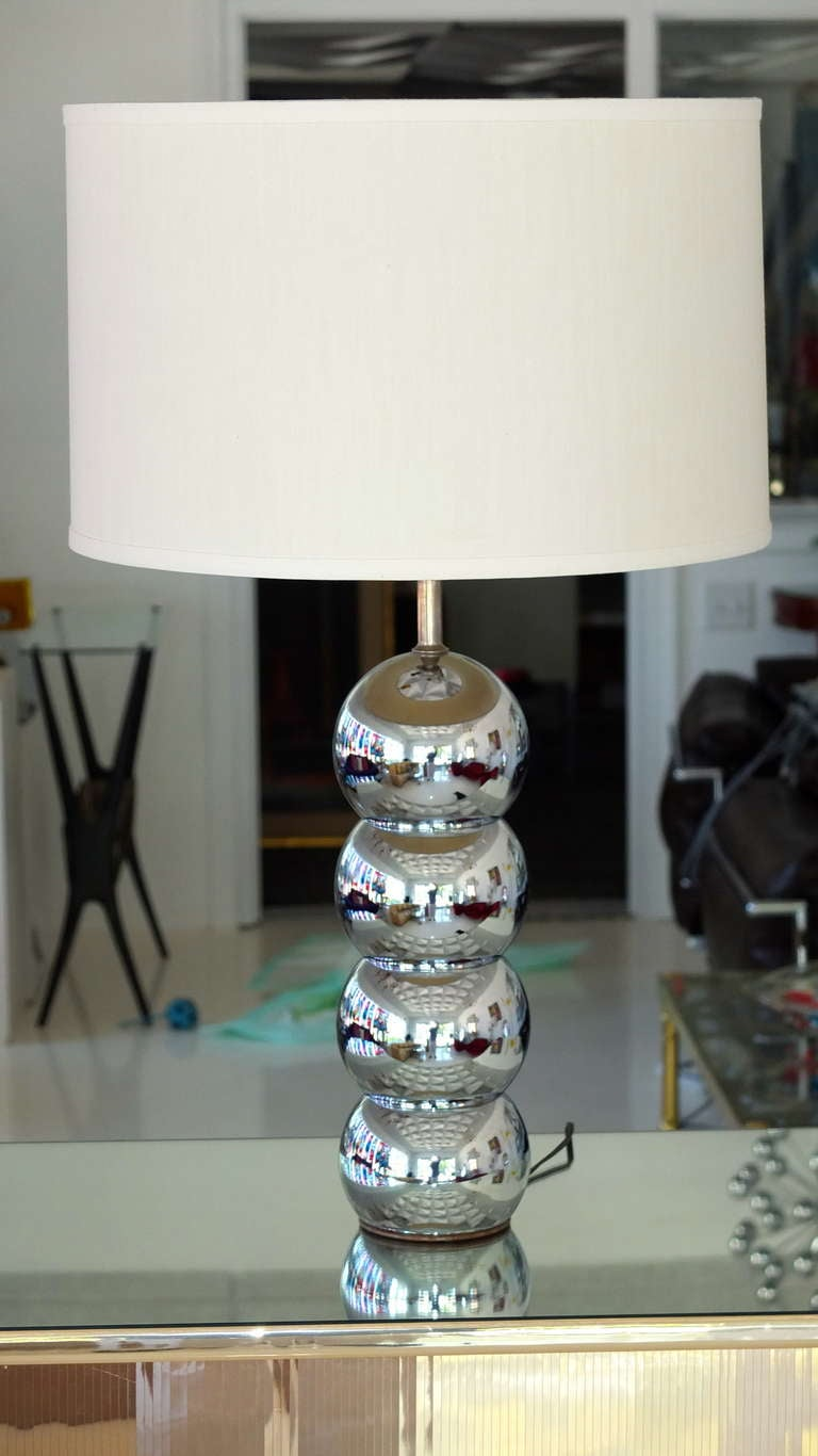 Marvelous Vintage Stacked Chrome Ball Table Lamp 2