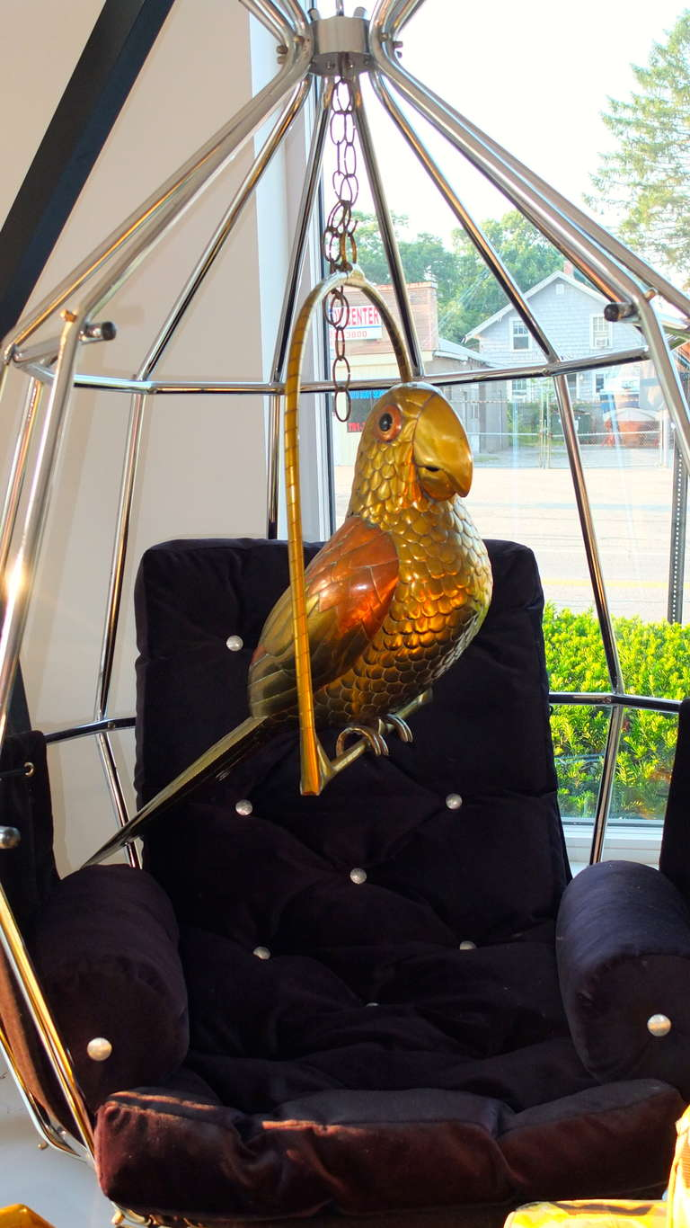 Vintage Brass Perched Parrot Sculpture by Sergio Bustamante For Sale 3