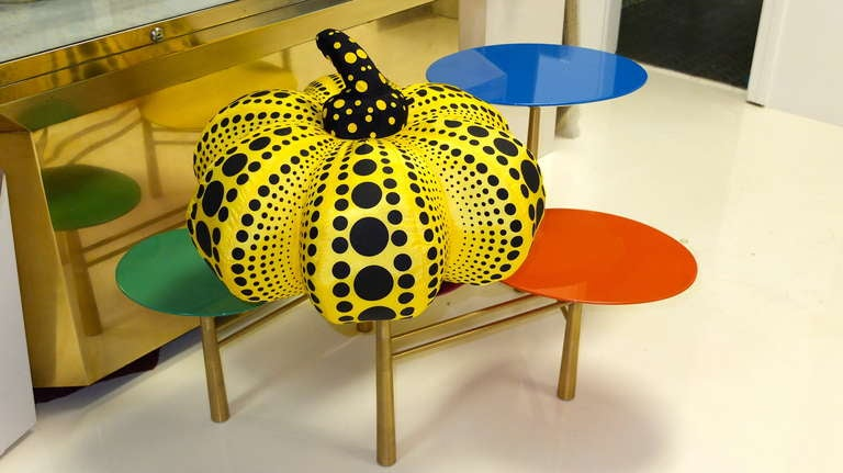 """Yayoi Kusama ( ne´e en 1929) - """"Dots Obsession"""" soft sculpture. Stuffed silk sculpture forming a yellow pumpkin. Label: Yayoi Kusama , Dots Obsession, Workaholics Inc. 2004.   Approximately 16 inches diameter by 12 inches high.   Very clean."""