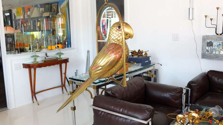 Folk Art Vintage Brass Perched Parrot Sculpture by Sergio Bustamante For Sale