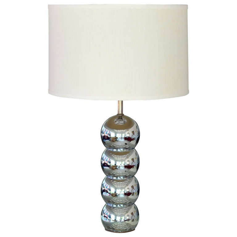 Vintage Stacked Chrome Ball Table Lamp For Sale at 1stdibs