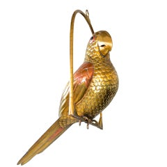 Vintage Brass Perched Parrot Sculpture by Sergio Bustamante
