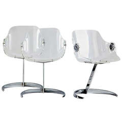 Boris Tabacoff Set of Three Perspex and Chrome Chairs