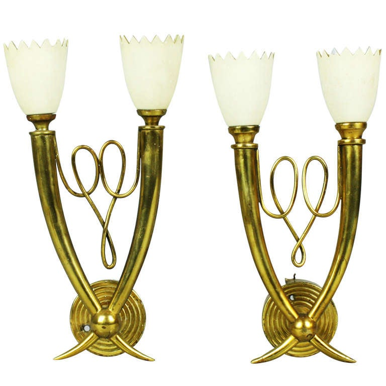 Pair of Stylish 1940s Italian Brass Sconces