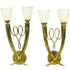 Pair of Stylish 1940s Italian Brass Sconces