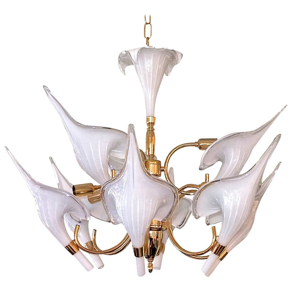 Beautiful Murano Calla Lily Chandelier by Franco Luce