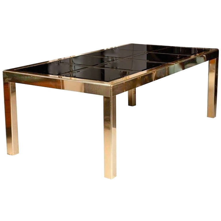 Mastercraft Bronze Mirror and Brass Dining Table For Sale