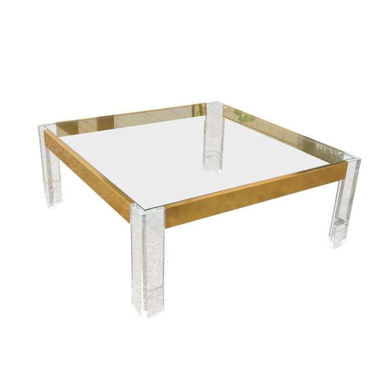 Lucite glass and anodized brass square cocktail table at for Lucite and brass coffee table