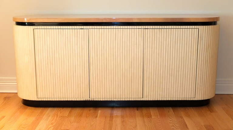 Mid-Century Modern Lacquered Goatskin Credenza by Enrique Garcel of Colombia For Sale