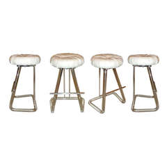 Set of 4 Vintage Lucite and Chrome Swivel Stools