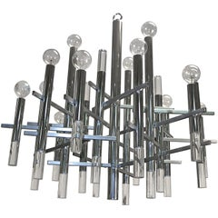 15 Light Sciolari Chandelier in Chrome & Lucite