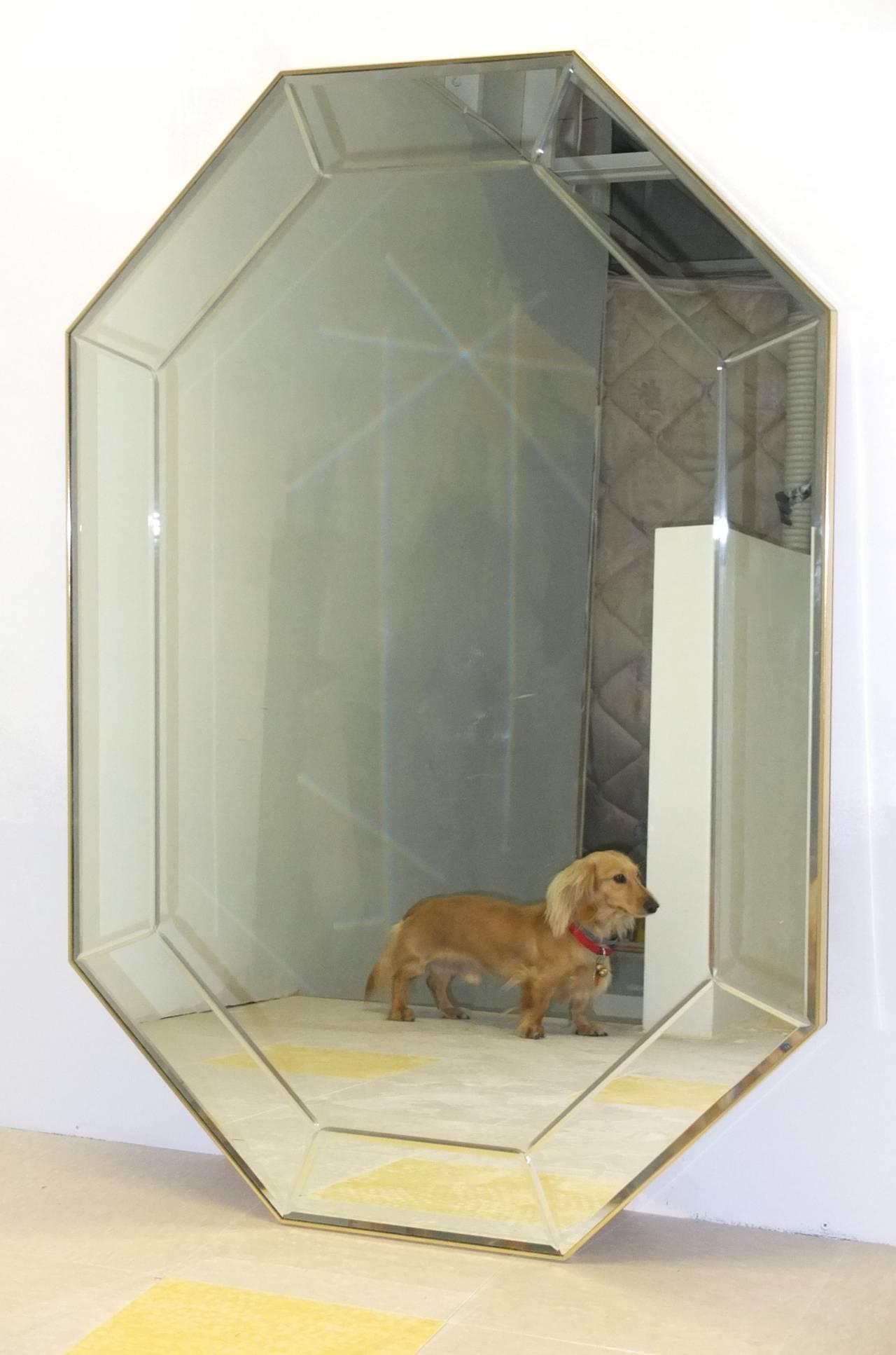 American La Barge Long Brass Octagonal Mirror For Sale
