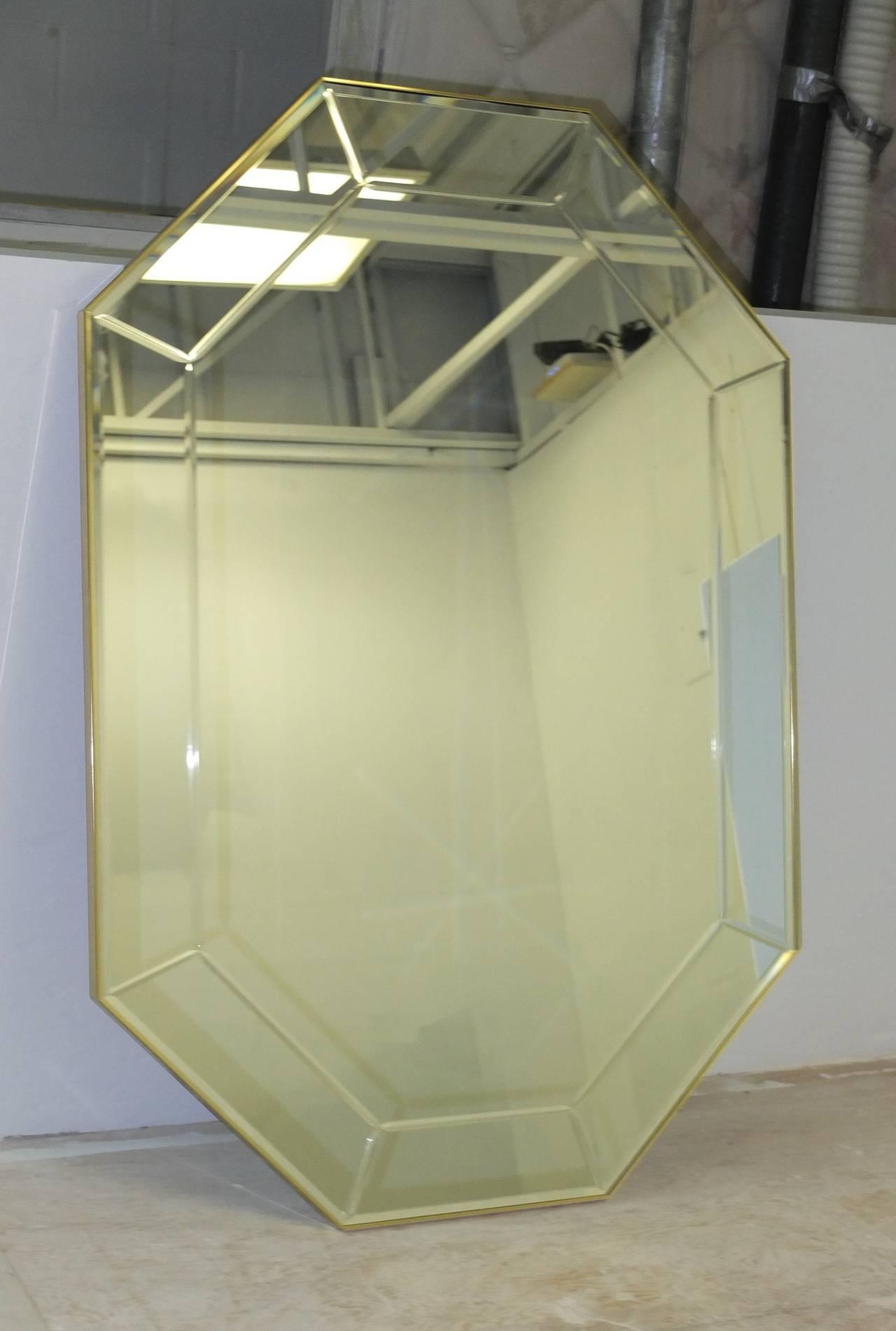 La Barge Long Brass Octagonal Mirror For Sale 1