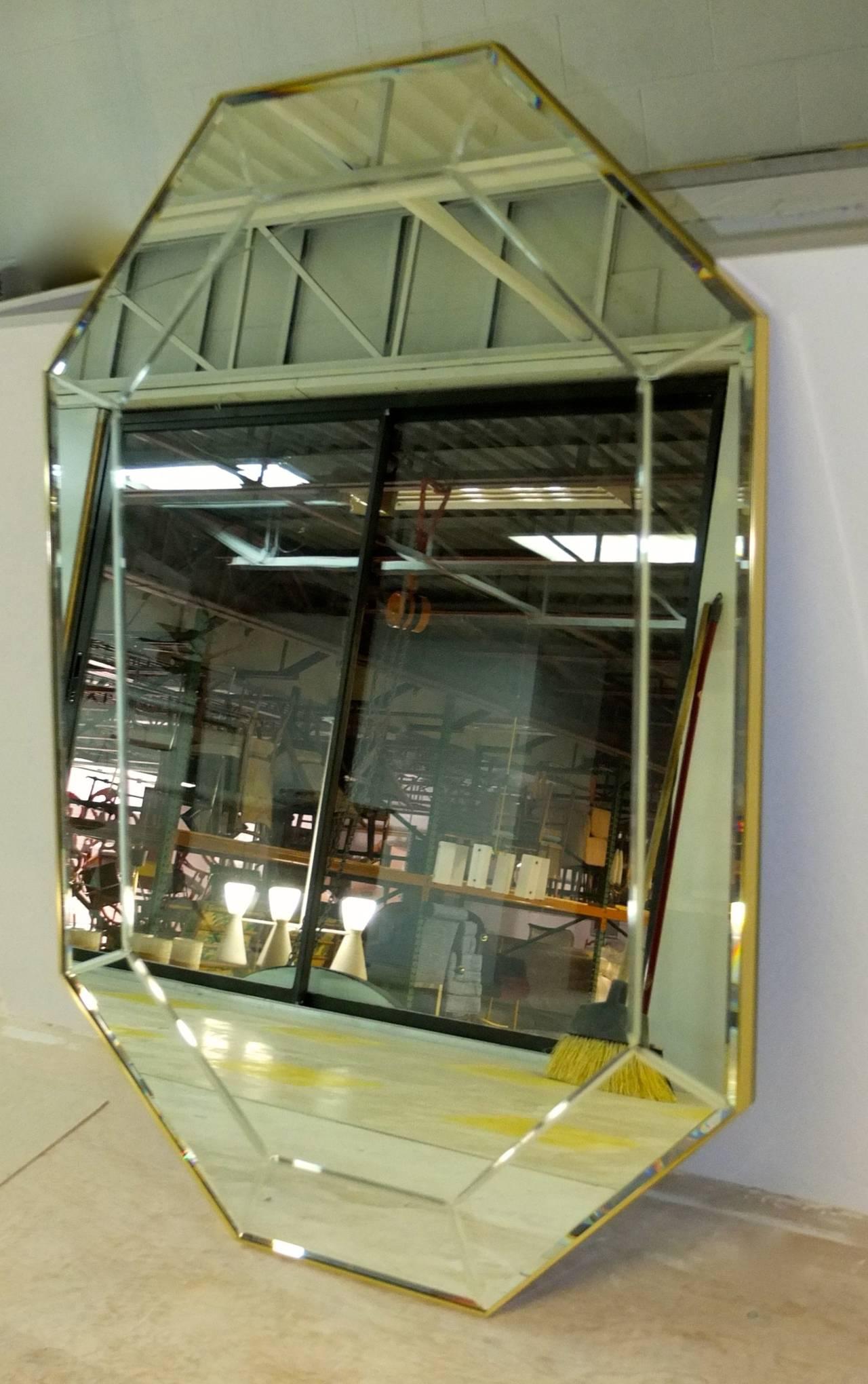 Beveled La Barge Long Brass Octagonal Mirror For Sale