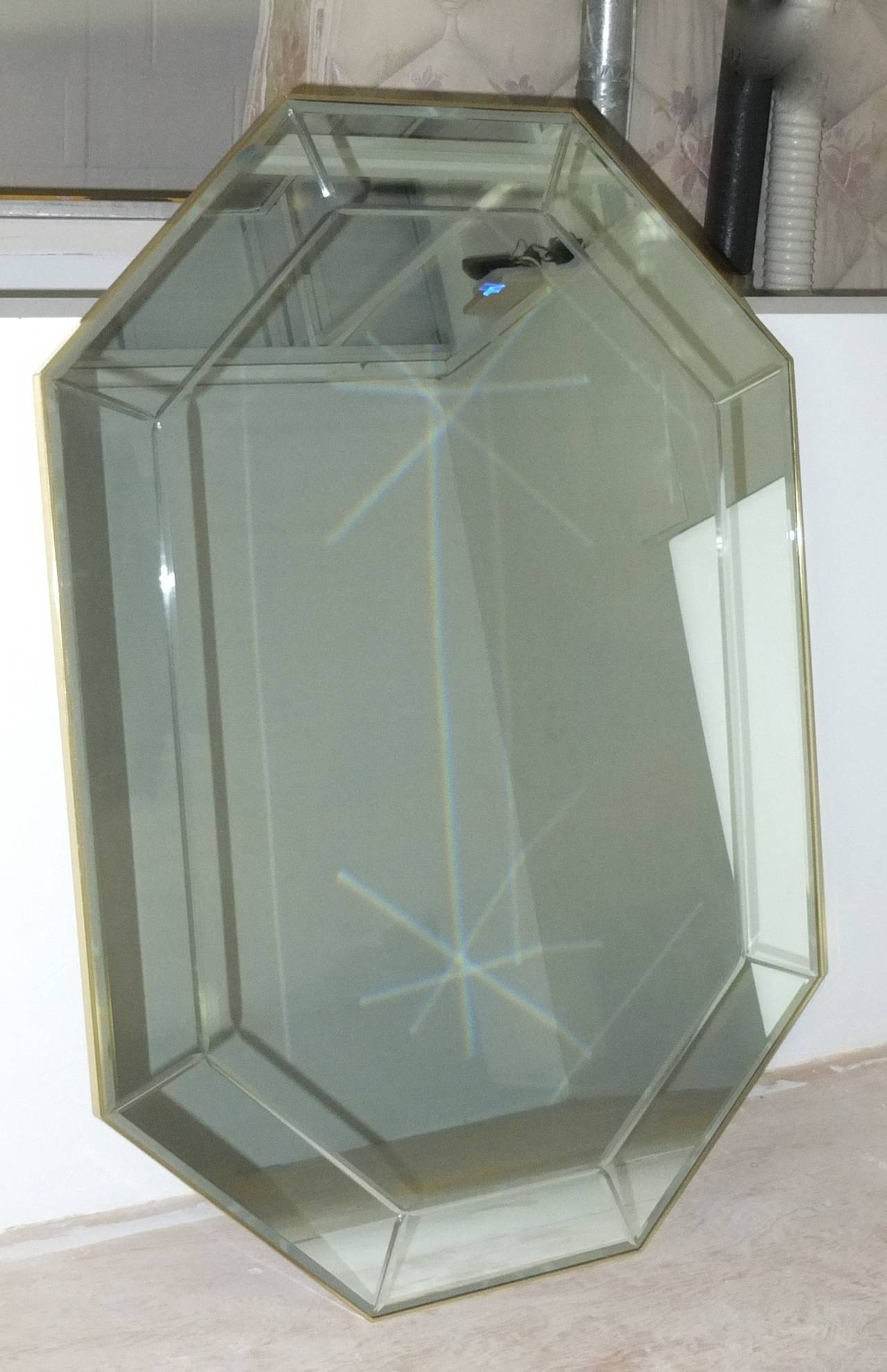La barge long brass octagonal mirror for sale at 1stdibs for Long wall mirrors for sale