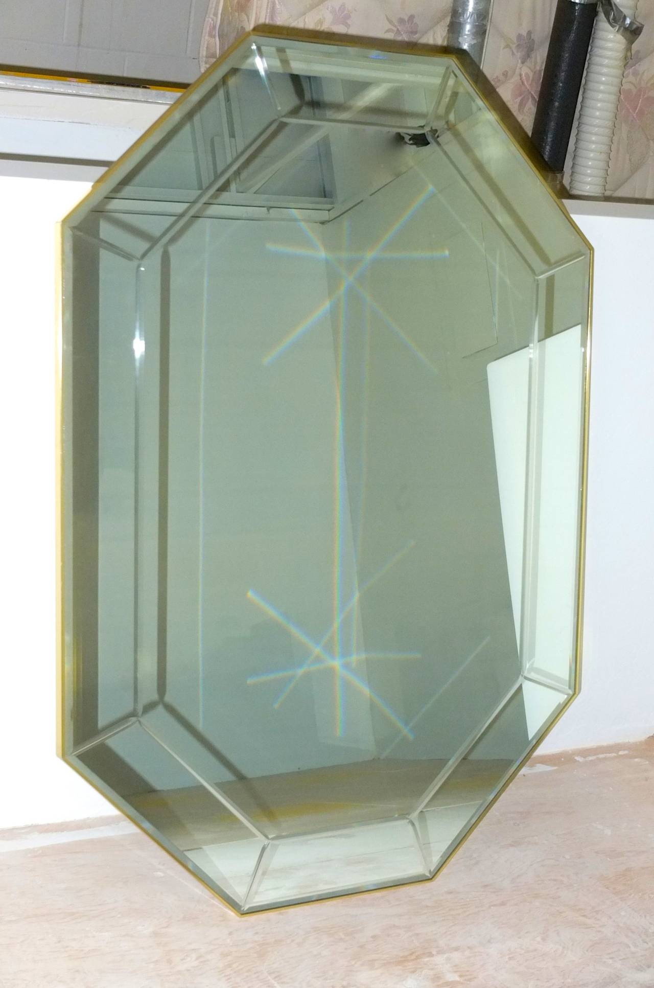 Late 20th Century La Barge Long Brass Octagonal Mirror For Sale
