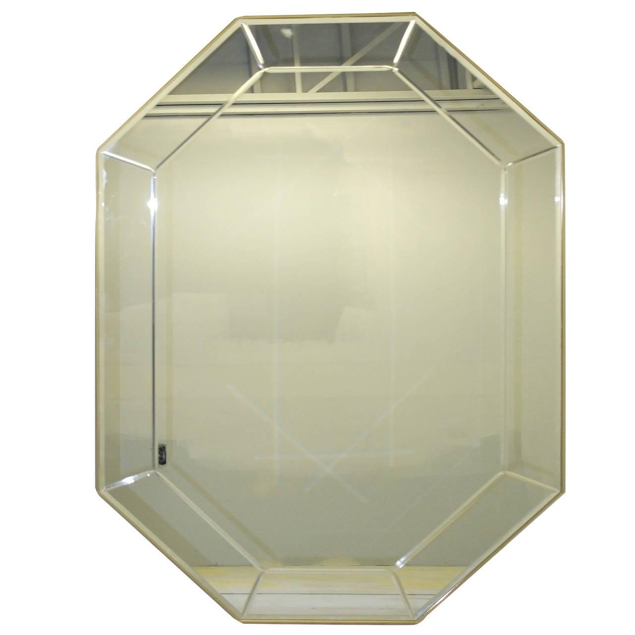 La Barge Long Brass Octagonal Mirror For Sale