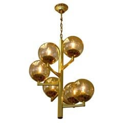 Boulanger Attributed Brass Spiral Chandelier with Golden Globes