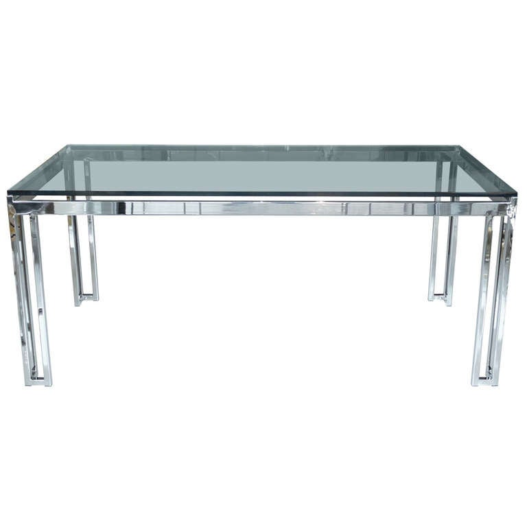 milo baughman chrome and glass dining table at 1stdibs. Black Bedroom Furniture Sets. Home Design Ideas