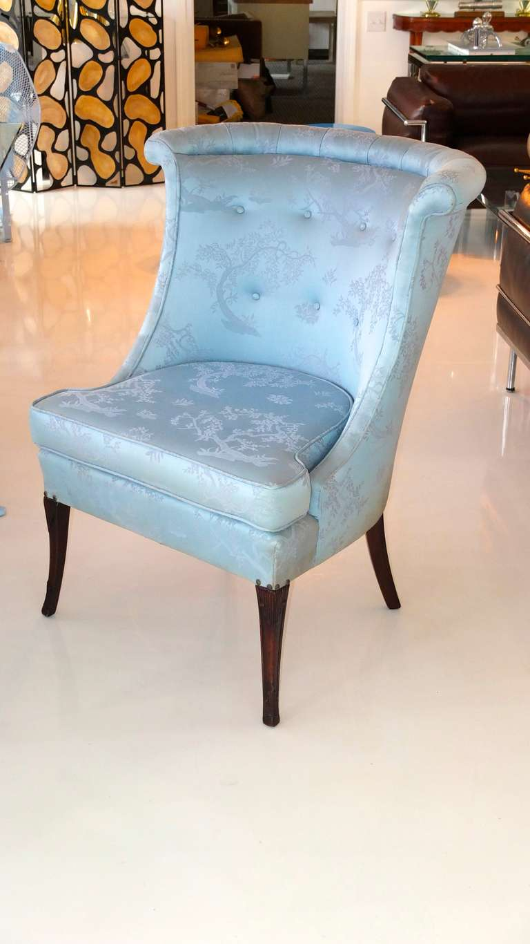 Pair of high back curved slipper chairs at 1stdibs