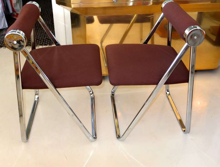 Pair of 1970s Folding Chrome Chairs Attributed to Giancarlo Piretti For Sale 1