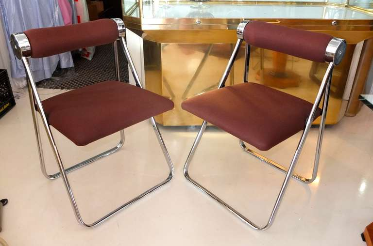 Space Age Pair of 1970s Folding Chrome Chairs Attributed to Giancarlo Piretti For Sale