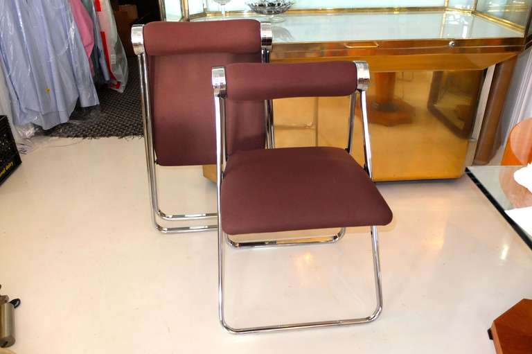 Pair of 1970s Folding Chrome Chairs Attributed to Giancarlo Piretti In Excellent Condition For Sale In Hingham, MA