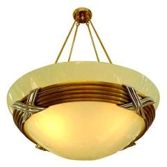 American Art Deco Frosted Bowl Chandelier