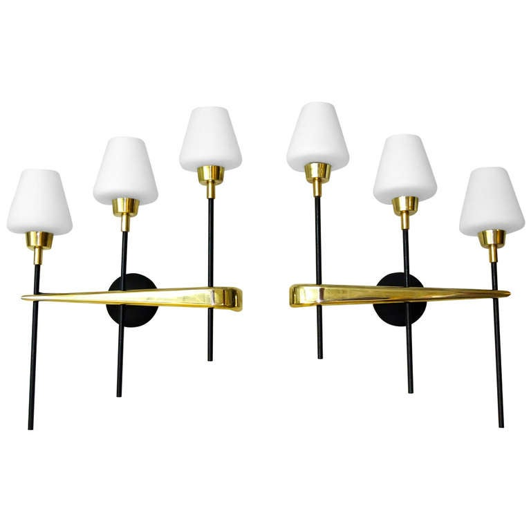Pair Of Brass & Iron Three Light Sconces By Arlus