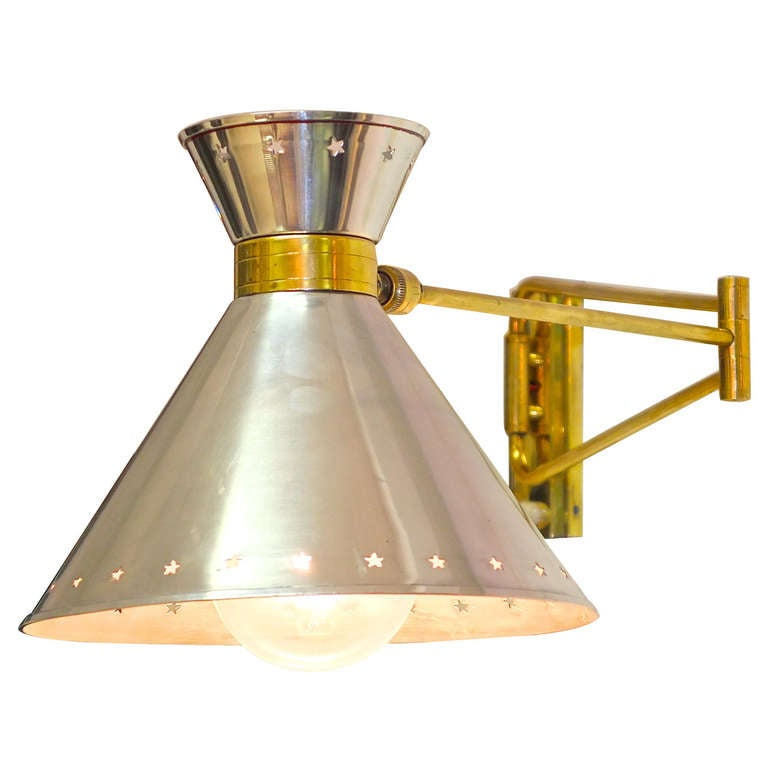 French 1950 s Brass and Aluminum Swing Arm Wall Lamp at 1stdibs