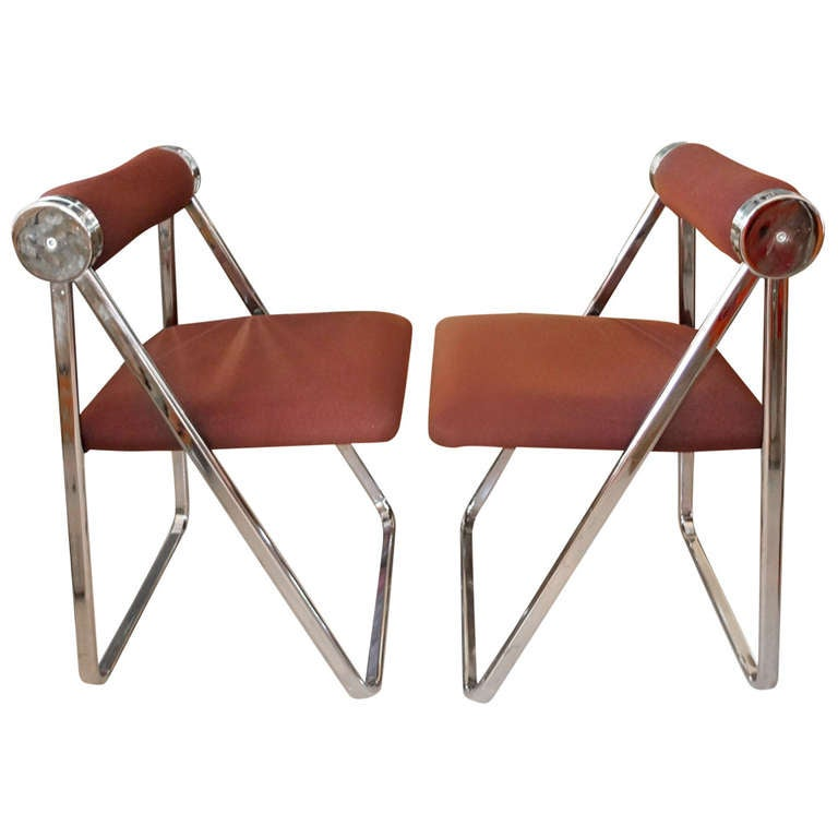 Pair of 1970s Folding Chrome Chairs Attributed to Giancarlo Piretti For Sale