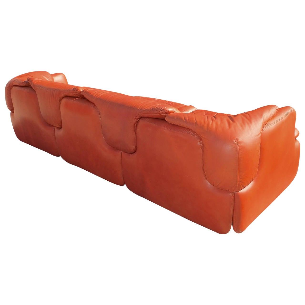 """""""Confidential"""" Leather Sofa by Alberto Rosselli for Saporiti"""