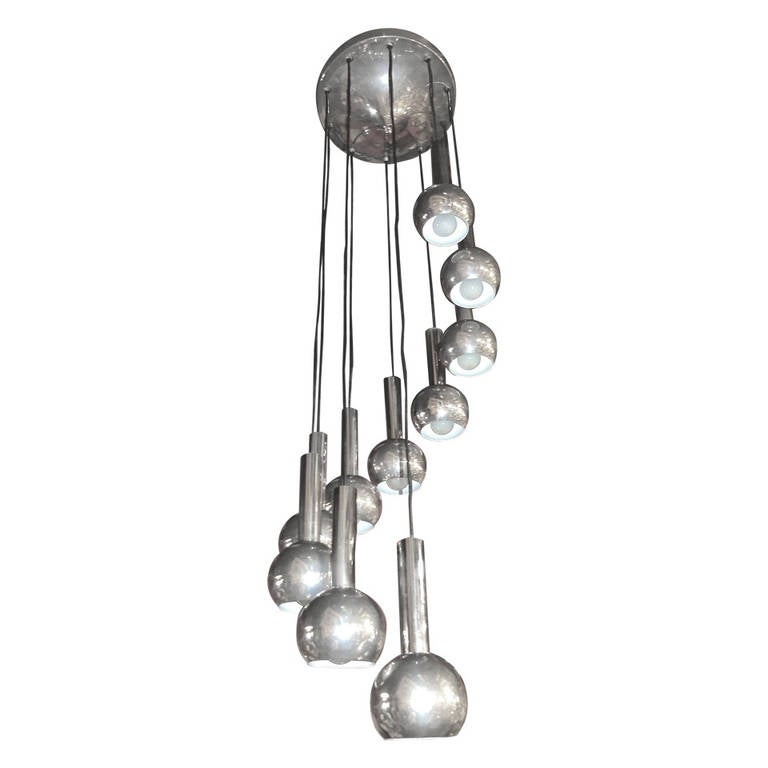 ten chrome balls cascading spiral chandelier for sale at 1stdibs