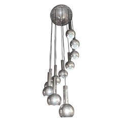 Ten Chrome Balls Cascading Spiral Chandelier