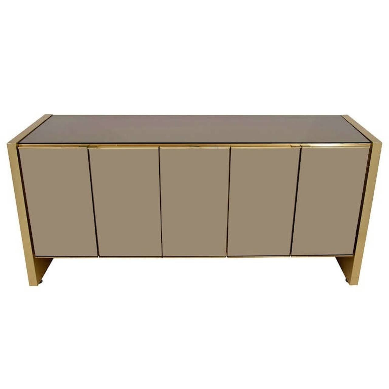 Ello sideboard bronze tinted mirror and brass for sale at for Sideboard glasfront