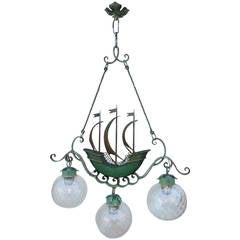 1940's Italian Iron Hanging Lamp with Sailing Ship after Gio Ponti