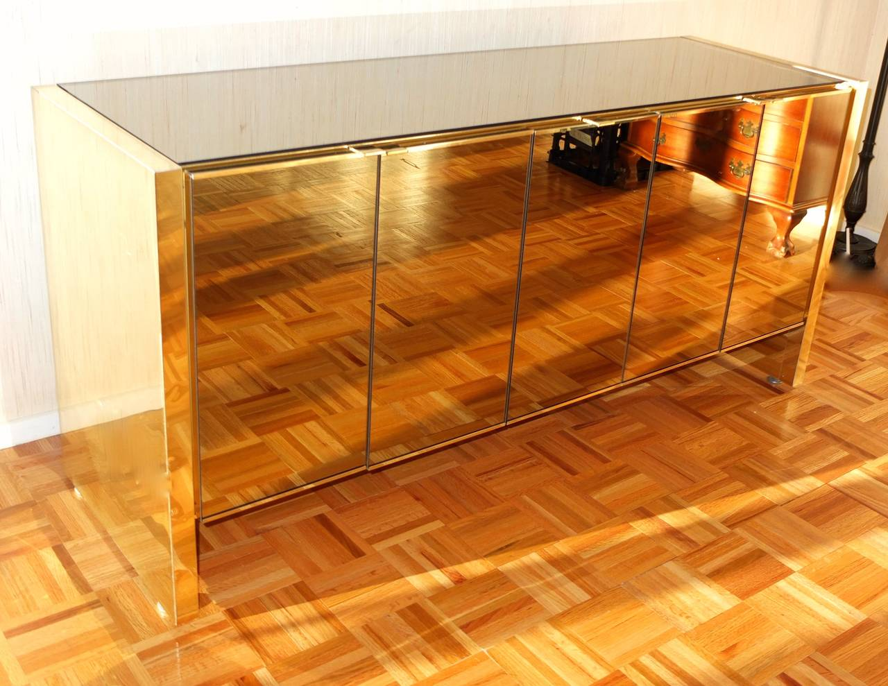 Ello Sideboard Bronze Tinted Mirror And Brass For Sale At