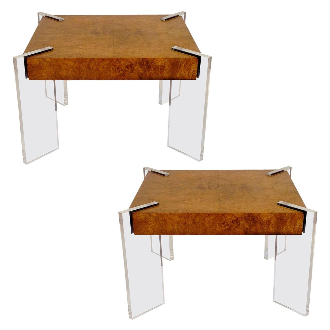 Pair of Floating Burl & Lucite Tables by Vladimir Kagan