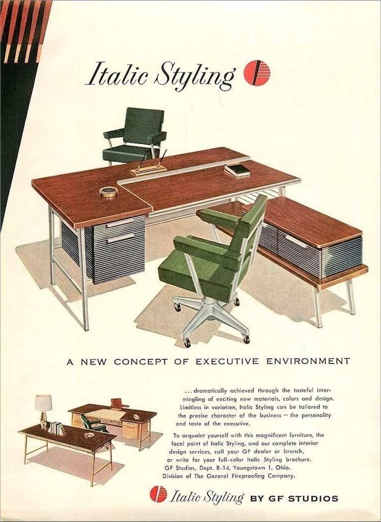 """Italic Styling"" Executive Desk from Gordon Bunshaft Building 8"
