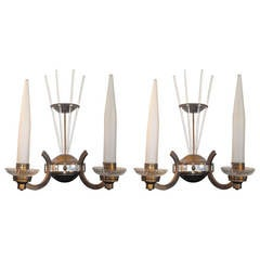 Pair of French Art Deco Sconces Attributed to Petitot