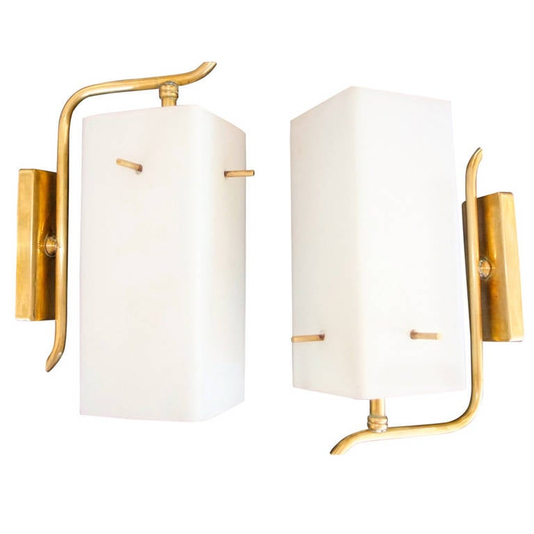 Pair of 1950s Brass Sconces with Box Shaped White Glass Shades For Sale