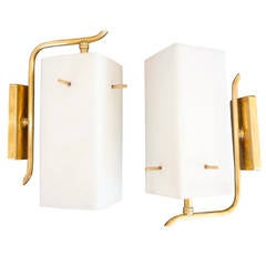 Pair of 1950s Brass Sconces with Box Shaped White Glass Shades