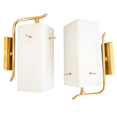 Pair of French 1950s Brass Sconces with Box Shaped Opaline Glass Shades