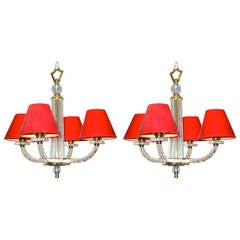 Pair of Jacques Adnet Petite Chandeliers