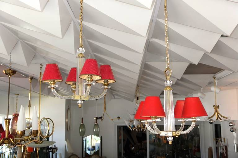 Pair of jacques adnet petite chandeliers for sale at 1stdibs french pair of jacques adnet petite chandeliers for sale aloadofball Image collections
