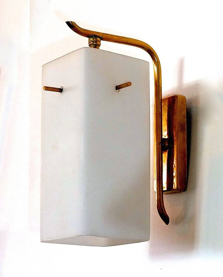 Mid-20th Century Pair of 1950s Brass Sconces with Box Shaped White Glass Shades For Sale